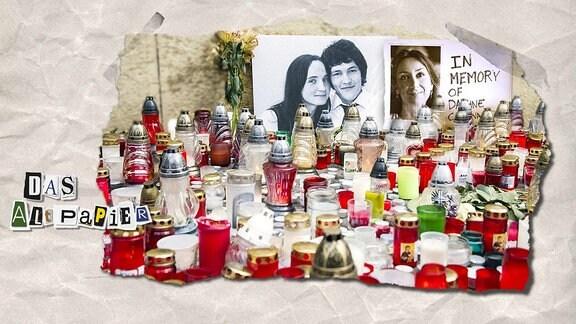 Collage zur Medienkolumne Das Altpapier vom 8. Oktober 2018: Bilder der getöteten Journalisten Daphne Caruana Galizia und Ján Kuciak mit Kerzen davor.