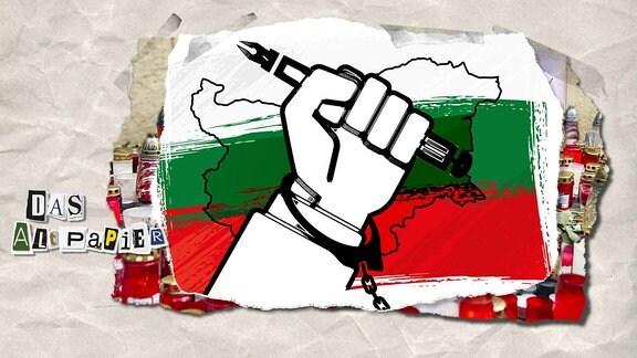 Collage zur Medienkolumne Das Altpapier vom 9. Oktober 2018: Angekettete Hand mit Stift in Handschelle. Im Hintergrund die Umrisse und Farben des Landes Bulgarien.