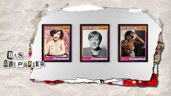 Collage zur Medienkolumne Das Altpapier vom 10. Oktober 2018: Titelseiten der Sonderausgabe des Spiegel #frauenland
