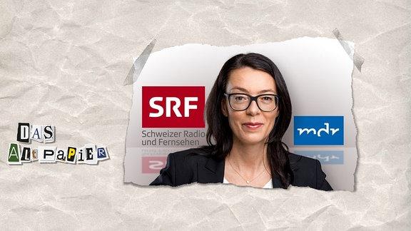 Collage zur Medienkolumne Das Altpapier vom 12. November 2018: Nathalie Wappler-Hagen, im Hintergrund links das SFR- und rechts das MDR-Logo.