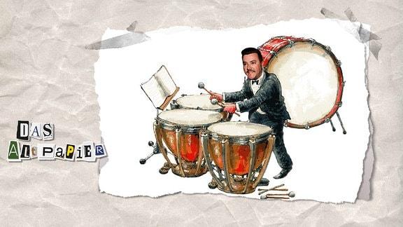 Collage zur Medienkolumne Das Altpapier vom 13. November 2018: René Bento als Paukenspieler.