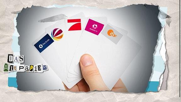 Collage zur Medienkolumne Das Altpapier vom 15. November 2018: Spielkerten mit Logos verschiedener Fernsehsender.