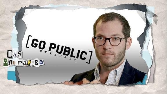 Collage zur Medienkolumne Das Altpapier vom 16. November 2018: Julian Reichelt sowie Logo GO PUBLIC