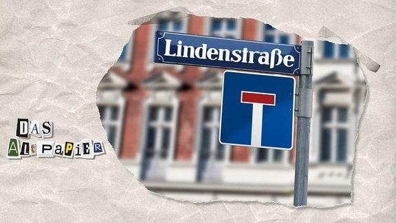 """Collage zur Medienkolumne Das Altpapier vom 19. November 2018: Straßenschild """"Lindenstraße"""" und Straßenschild """"Sackgasse"""""""