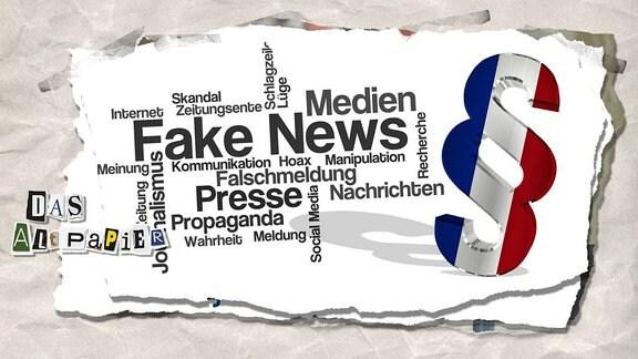 Collage zur Medienkolumne Das Altpapier vom 22. November 2018: Wordcloud Fake-News, Paragraphenzeichen in den Nationalfarben von Frankreich