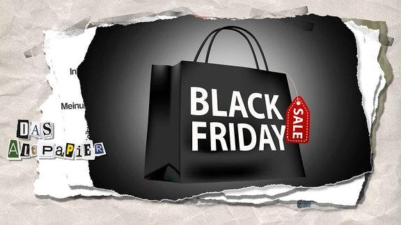 Collage zur Medienkolumne Das Altpapier vom 23. November 2018: Einkaufstasche mit dem Schriftzug Black Friday