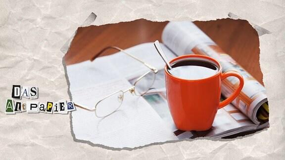 Collage zur Medienkolumne Das Altpapier vom 26. November 2018: aufgeschlagene Zeitung mit Brille und Kaffeetasse