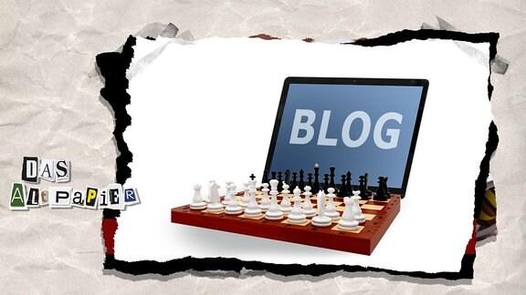 Collage zur Medienkolumne Das Altpapier vom 28. November 2018: aufgeschlagenes Laptop mit Schriftzug Blog und einem Schachbrett mit Figuren als Tastatur
