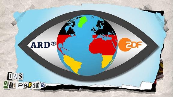 Collage zur Medienkolumne Das Altpapier vom 29. November 2018: Die Pupille eines Auges zeigt die Weltkugel in den Deutschlandfarben, nur etwa zehn Prozent der Fläche sind grün. In den Weißflächen des Auges stehen die Logos von ARD und ZDF.