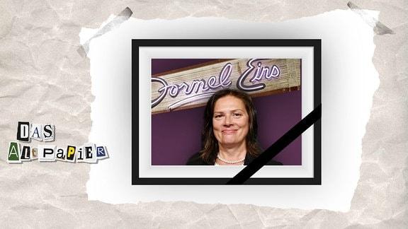 Collage zur Medienkolumne Das Altpapier vom 3. Dezember 2018: Stefanie Tücking und das Formel Eins Logo in einem schwarzen Bilderrahmen und Trauerflor.