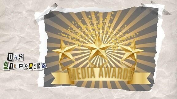 Collage zur Medienkolumne Das Altpapier vom 4. Dezember 2018: Drei goldene Sterne mit der Aufschrift Media Awards