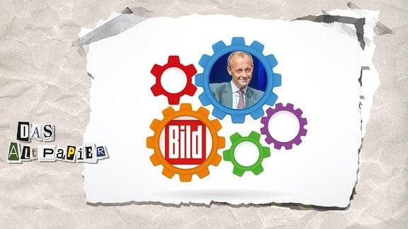 Collage zur Medienkolumne Das Altpapier vom 5. Dezember 2018: Zahnräder greifen ineinander. In einem Zahnrad ist Friedrich Merz von der CDU, in einem anderen das Logo der Bildzeitung abgebildet.