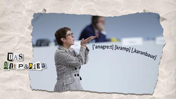 Collage zur Medienkolumne Das Altpapier vom 10. Dezember 2018: In Lautschrift steht der Name Annegret Kramp-Karrenbauer neben der selbigen Person.