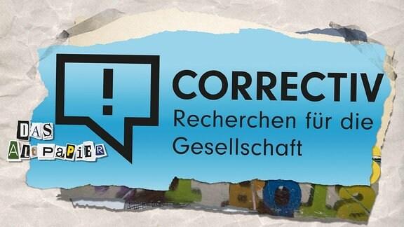 Collage zur Medienkolumne Das Altpapier vom 12. Dezember 2018: Logo der Redaktion Correctiv