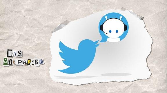 Collage zur Medienkolumne Das Altpapier vom 17. Dezember 2018: Twitterlogo und Icon Chat Bot