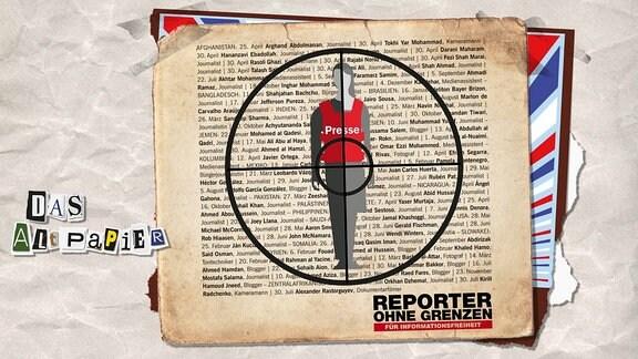 """Collage zur Medienkolumne Das Altpapier vom 19. Dezember 2018: Ein stilisierte Person mit einer roten Schussweste mit der Aufschrift Presse. Die Person befindet sich im Fadenkreuz. Im Hintergrund eine Liste mit Namen der 2018 getöteten Journalisten. Unten der Schriftzug von """"Reporter ohne Grenzen"""""""