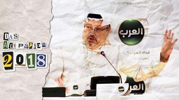 Collage zur Medienkolumne Das Altpapier vom 22. Dezember 2018: Logo Das Altpapier 2018 sowie ein Foto des getöteten Journalisten Jamal Khashoggi