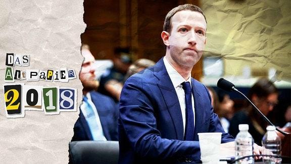 Collage zur Medienkolumne Das Altpapier vom 30. Dezember 2018: Logo Das Altpapier 2018 sowie ein Foto von Mark Zuckerberg.