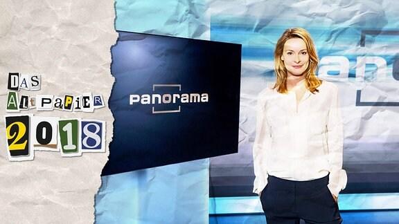 Collage zur Medienkolumne Das Altpapier vom 24. Dezember 2018: Logo Das Altpapier 2018 sowie ein Foto mit der Moderatorin Anja Reschke von panorama.