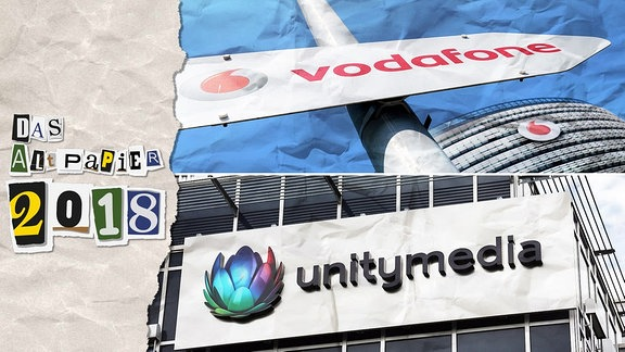 Collage zur Medienkolumne Das Altpapier vom 28. Dezember 2018: Logo Das Altpapier 2018 sowie ein Foto mit den Logos von Vodafone und unitymedia.