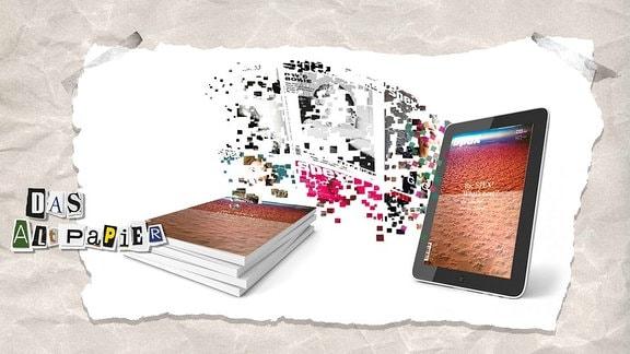 """Collage zur Medienkolumne Das Altpapier vom 2. Januar 2019: Cover der Zeitschrift """"Spex"""" lösen sich in Pixel auf und fliegen von einem Zeitschriftenstapel in einen Tablet-Computer"""