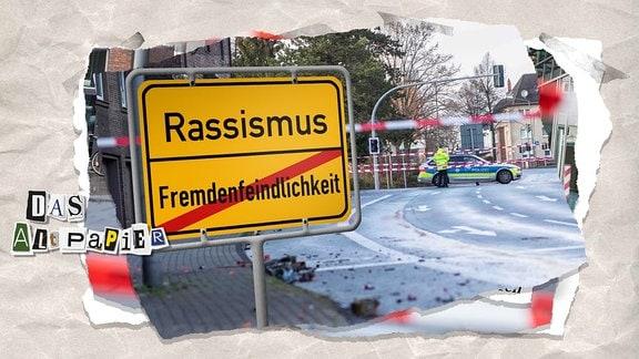 """Collage zur Medienkolumne Das Altpapier vom 4. Januar 2019: Straßenansicht vom Tatort in Bottrop mit Polizeiabsperrband, im Vordergrund ein Ortsschild mit der durchgestrichenen Aufschrift """"Fremdenfeindlichkeit"""" und darüber die Aufschrift """"Rassismus"""""""