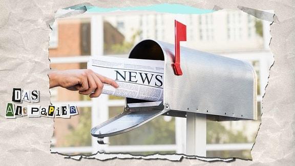 Collage zur Medienkolumne Das Altpapier vom 15. Januar 2019: Zeitung wird in einen amerikanischen Briefkasten gesteckt