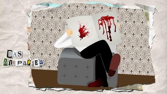 Collage zur Medienkolumne Das Altpapier vom 16. Januar 2019: Leser liest Zeitung mit Blutspritzern.