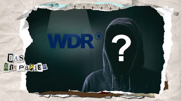 Collage zur Medienkolumne Das Altpapier vom 18. Januar 2019: Logo WDR mit anonymen Mann mit Kapuze