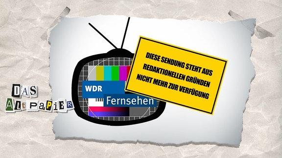 """Collage zur Medienkolumne Das Altpapier vom 21. Januar 2019: Gelbes Schild mit Aufschrift: """"Diese Sendung steht aus redaktionellen Gründen nicht mehr zur Verfügung"""" Dahinter ein Fernseher mit einem Testbild"""