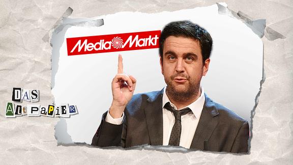 Collage zur Medienkolumne Das Altpapier vom 22. Januar 2019: Bastian Pastewka mit erhobenem Zeigefinger auf ein Logo von Media Markt.