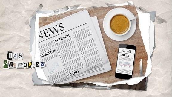 Collage zur Medienkolumne Das Altpapier vom 24. Januar 2019: aufgeschlagene Zeitung, handy mit e-paper und Kaffeetasse auf einem Tisch