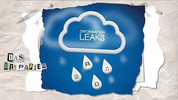 """Collage zur Medienkolumne Das Altpapier vom 29. Januar 2019: Wolke mit Aufschrift """"Information Leaks"""" sowie Regentropfen mit Noten, Foto-, Text- und Video-Symbolen."""
