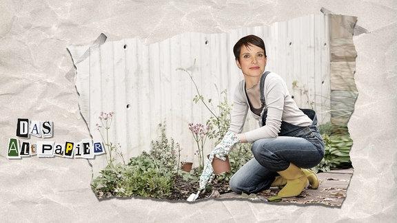 Collage zur Medienkolumne Das Altpapier vom 4. Februar 2019: Frau an einem Gartenbeet. Das Gesicht von Frauke Petry ist darauf montiert.