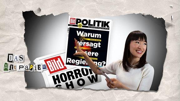 """Collage zur Medienkolumne Das Altpapier vom 11. Februar 2019: Marie Kondo """"räumt"""" Bild-Zeitung und Bild Politik auf"""