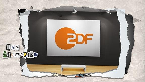 Collage zur Medienkolumne Das Altpapier vom 13. Februar 2019: Bild in einer Galerie mit Bank davor. Auf dem Bild ist das Logo des ZDF zu sehen.
