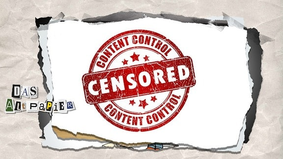 """Collage zur Medienkolumne Das Altpapier vom 14. Februar 2019: Stempel """"Censored"""""""
