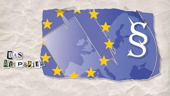 Collage zur Medienkolumne Das Altpapier vom 18. Februar 2019: Im Hintergrund Karte von Europa. Darauf ein Pargrafenzeichen sowie Kreis aus Sternen.