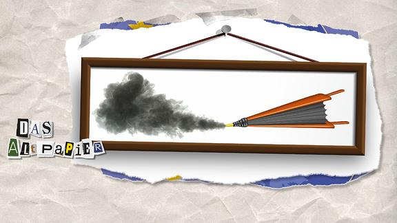 Collage zur Medienkolumne Das Altpapier vom 19. Februar 2019: Blasebalg mit Wolke in einem Bilderrahmen.