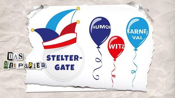 """Collage zur Medienkolumne Das Altpapier vom 26. Februar 2019: Narrenkappe mit Schriftzug """"Stelter-Gate"""", Luftballons mit Schriftzug Witz, Humor, Karneval"""