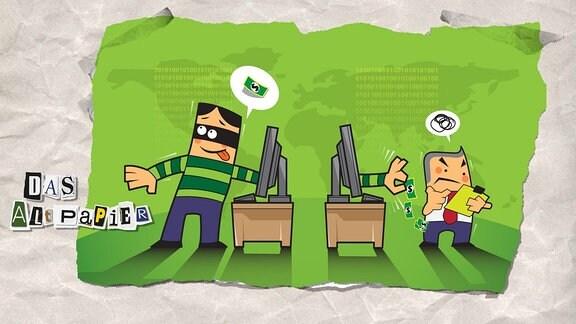 Collage zur Medienkolumne Das Altpapier vom 05.März 2019: Datenschutz und facebook - Karikatur