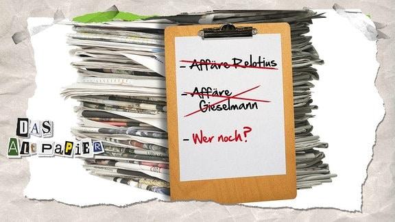 """Collage zur Medienkolumne Das Altpapier vom 06.März 2019: Zeitungsstapel mit Klemmbrett """"Affäre Relotius, Affäre Geiselmann, wer noch?""""r"""