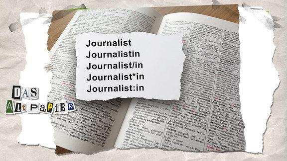 Collage zur Medienkolumne Das Altpapier vom 07.März 2019: Lexikonseite mit verschiedenen Gender-Schreibweisen von Journalist