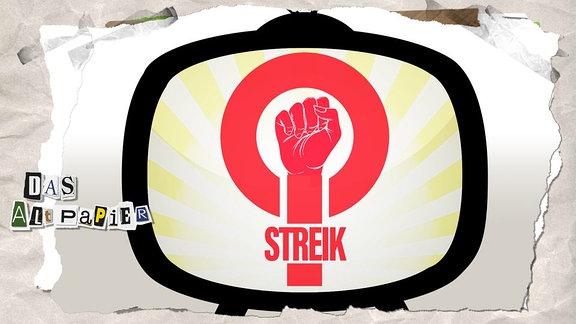 Collage zur Medienkolumne Das Altpapier vom 08.März 2019: Geballte Frauenfaust in einem Fernseher