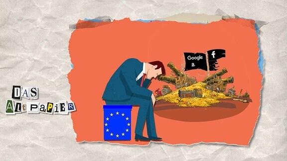 Collage zur Medienkolumne Das Altpapier vom 13. März 2019: Mann sitzt hilflos auf einem Hocker in den Farben der EU-Flagge. Hinter ihm ist ein großer Schatz mit den Piratenflaggen von Facebook, Google und Amazon.