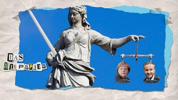 Collage zur Medienkolumne Das Altpapier vom 16. April 2019: Statue der Justitia mit den Köpfen von Angela Merkel und Jan Böhmermann in den Waagschalen