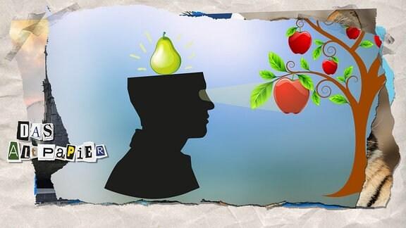 Collage zur Medienkolumne Das Altpapier vom 18. April 2019: Seitliche Silhouette eines Kopfes mit Blickrichtung hin zu einem Apfelbaum. In der oberen Kopfhälfte ist eine Birne zu sehen.