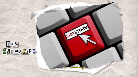 """Collage zur Medienkolumne Das Altpapier vom 24. April 2019: Computertaste mit Aufschrift """"Shitstorm"""""""
