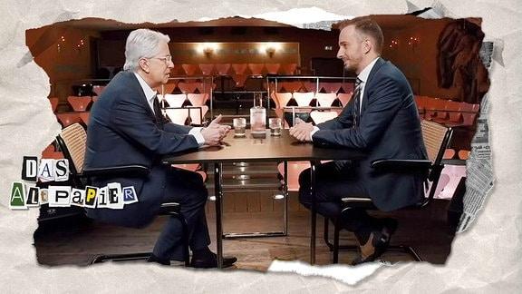 Collage zur Medienkolumne Das Altpapier vom 26. April 2019: Frank Elstner und Jan Böhmermann sitzen sich gegenüber.