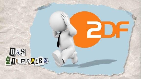 Collage zur Medienkolumne Das Altpapier vom 23. September 2019: Logo ZDF. Davor läuft eine Figur davon, die sich die Hände an den Kopf hält.